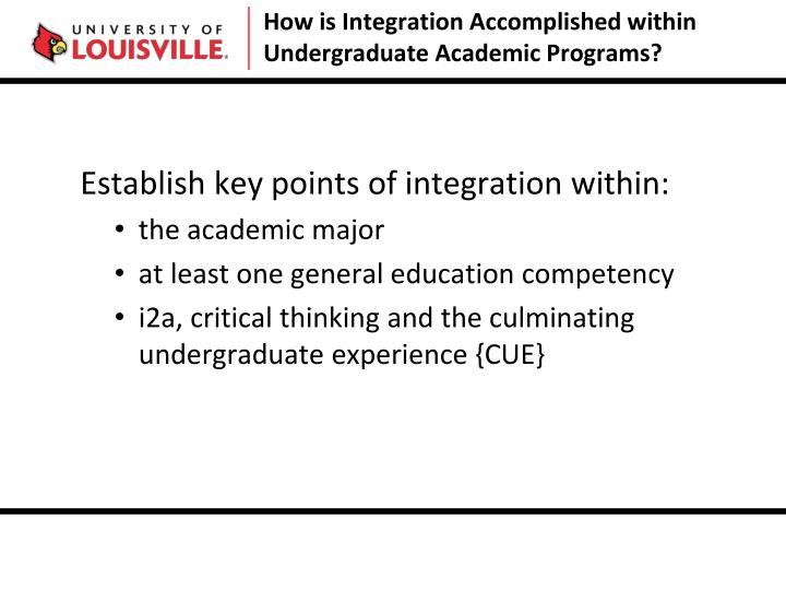 How is Integration Accomplished within Undergraduate Academic Programs?