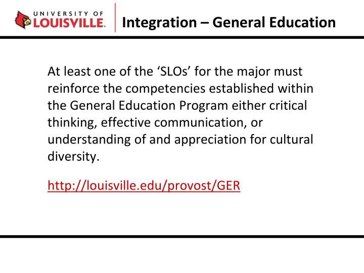 Integration – General Education