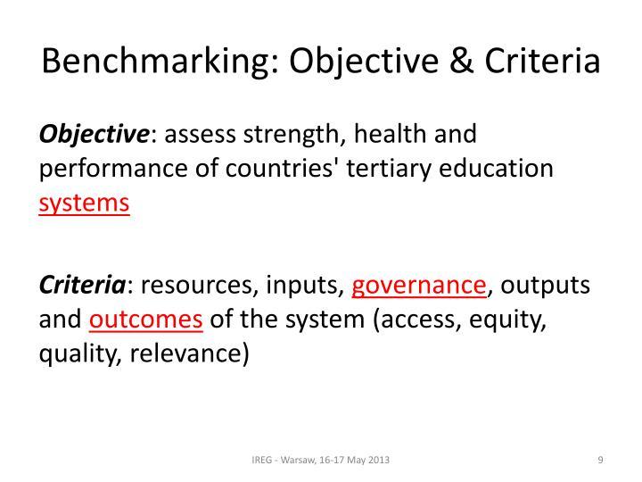 Benchmarking: Objective & Criteria