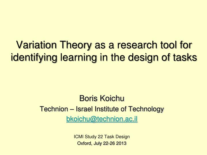variation theory as a research tool for identifying learning in the design of tasks n.