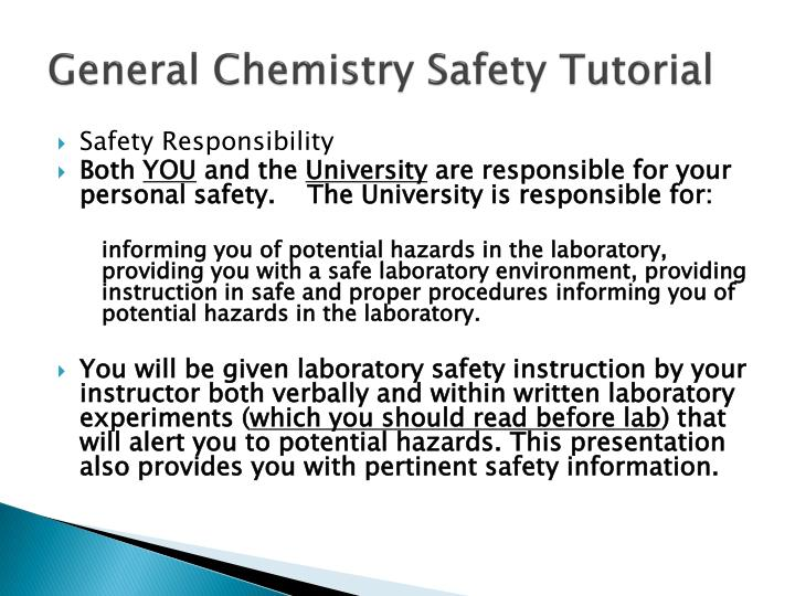 PPT - General Chemistry Safety Tutorial PowerPoint