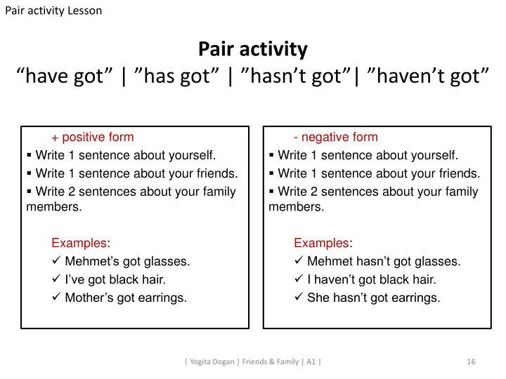 Pair activity Lesson