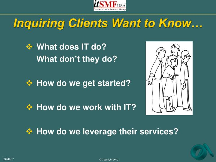 Inquiring Clients Want to Know…