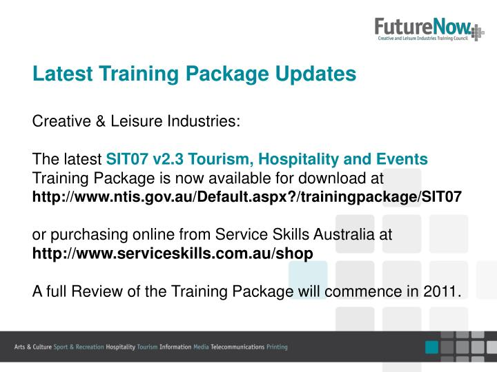 Latest Training Package Updates