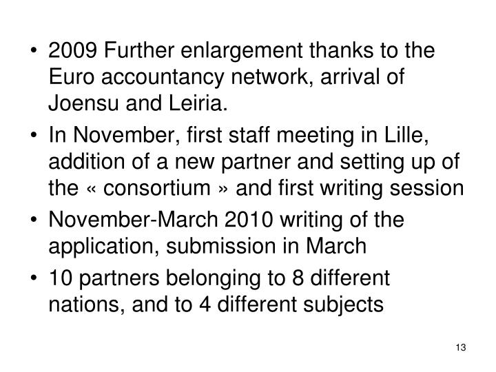 2009 Further enlargement thanks to the Euro accountancy network, arrival of Joensu and Leiria.