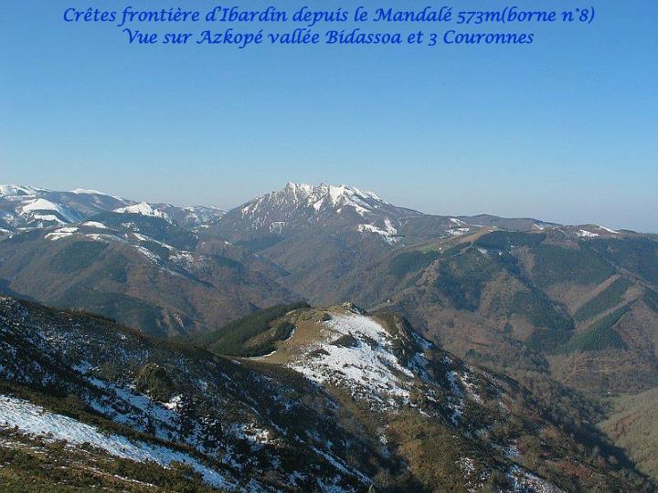 Crêtes frontière d'Ibardin depuis le Mandalé 573m(borne n°8)