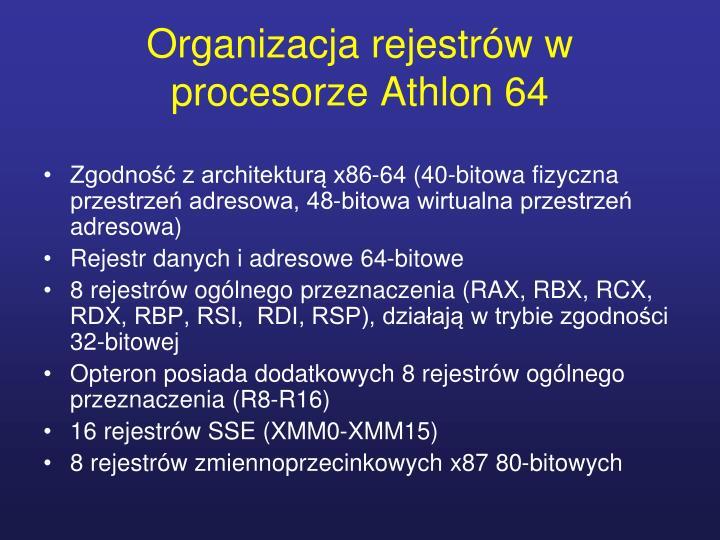 Organizacja rejestrów w procesorze Athlon 64