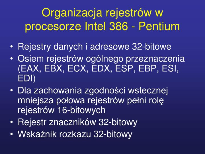 Organizacja rejestrów w procesorze Intel 386 - Pentium