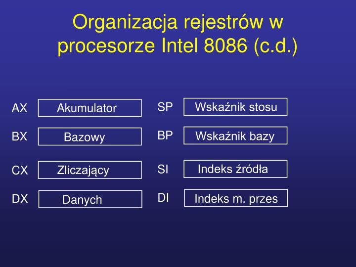 Organizacja rejestrów w procesorze Intel 8086 (c.d.)