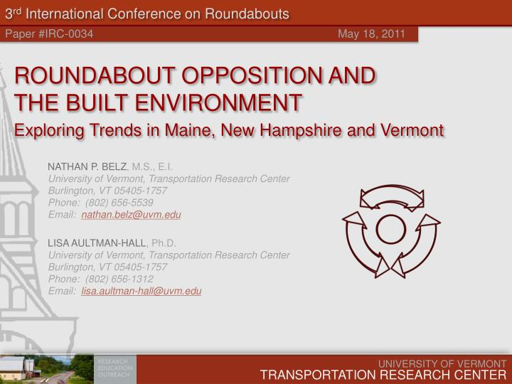 3 rd international conference on roundabouts n.