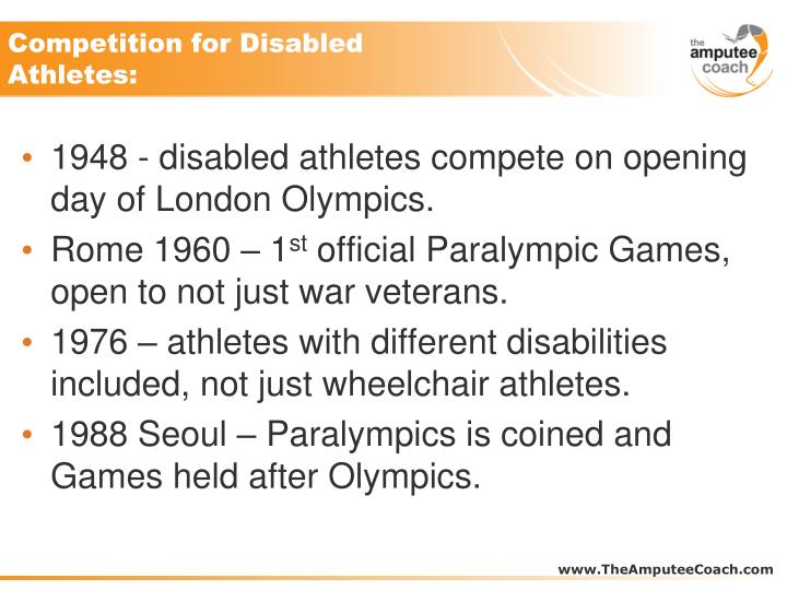Competition for disabled athletes