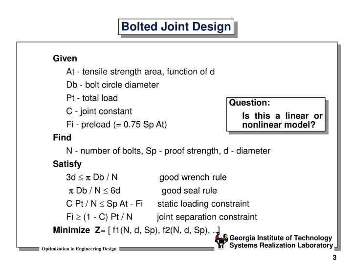 Bolted joint design