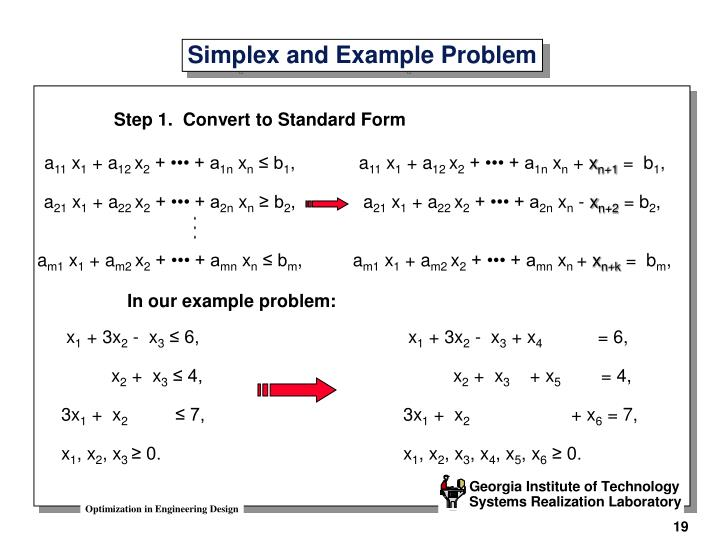 Simplex and Example Problem
