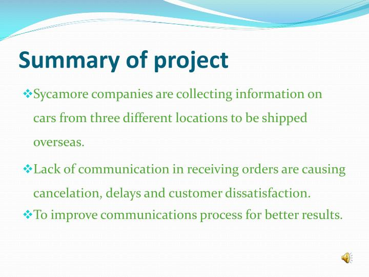 Summary of project