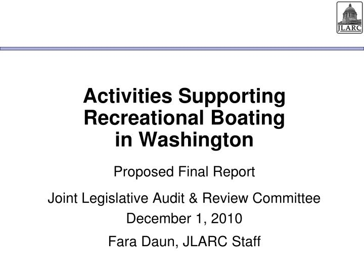 activities supporting recreational boating in washington n.