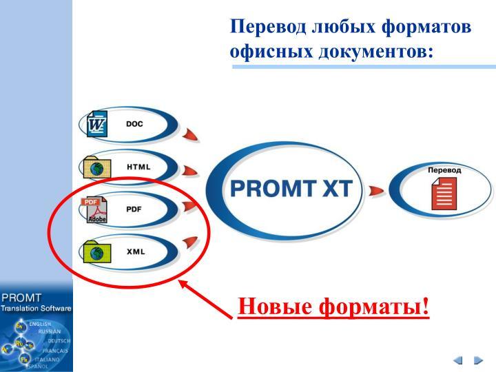 Перевод любых форматов офисных документов: