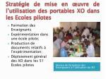 strat gie de mise en uvre de l utilisation des portables xo dans les ecoles pilotes