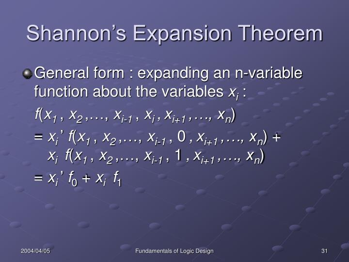 Shannon's Expansion Theorem