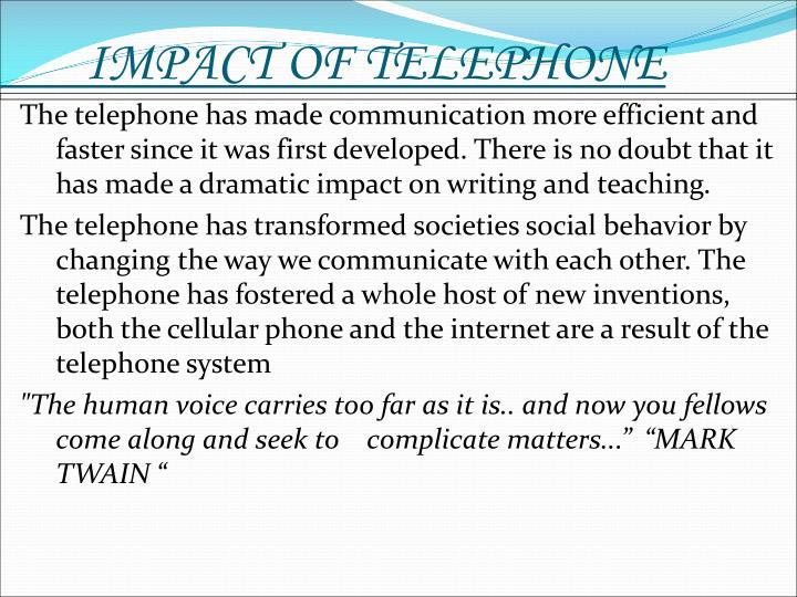 IMPACT OF TELEPHONE
