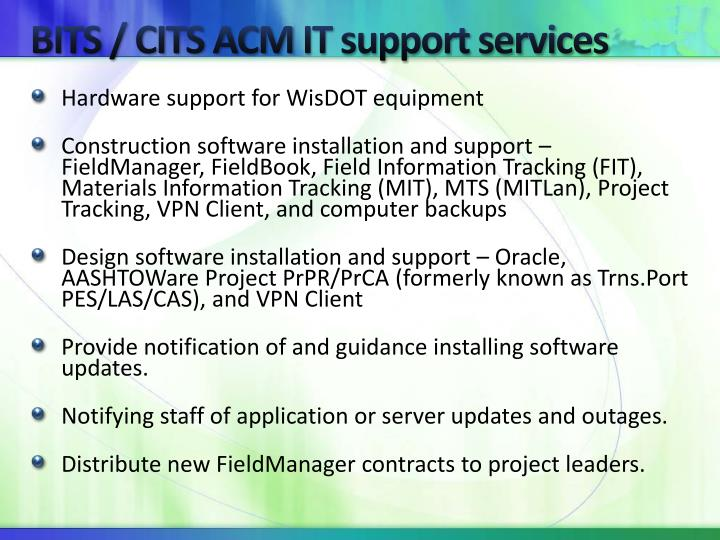 Bits cits acm it support services