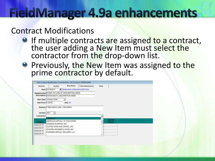 FieldManager 4.9a enhancements