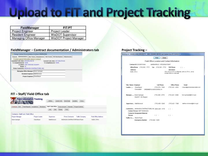 Upload to FIT and Project Tracking