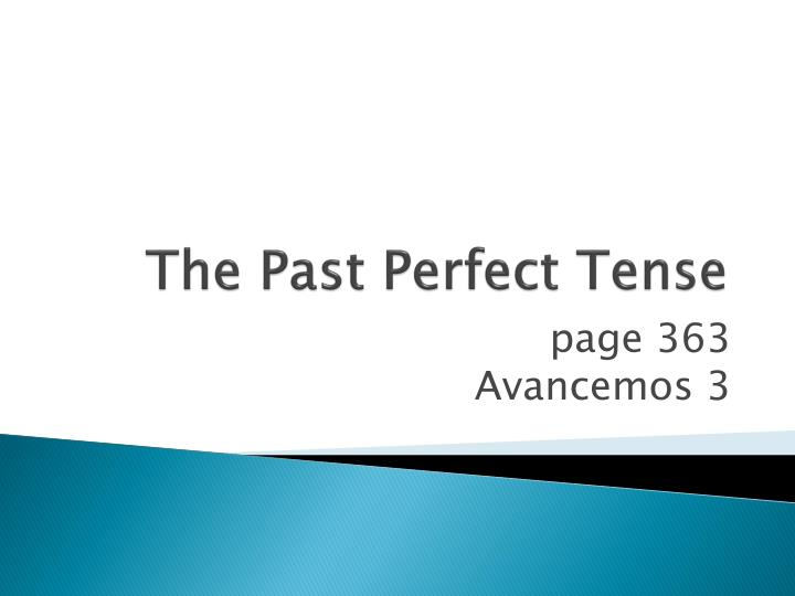 the past perfect tense n.