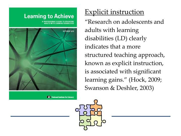 Explicit instruction