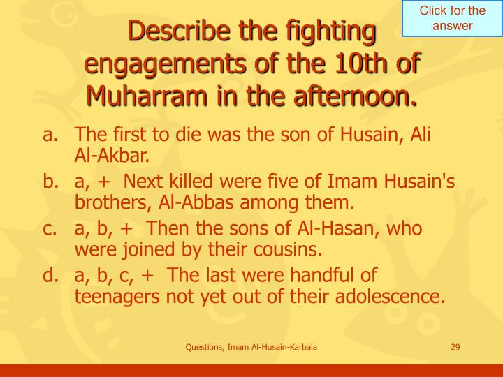 Describe the fighting engagements of the 10th of Muharram in the afternoon.