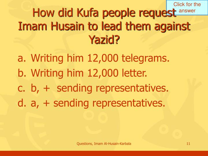 How did Kufa people request Imam Husain to lead them against Yazid?