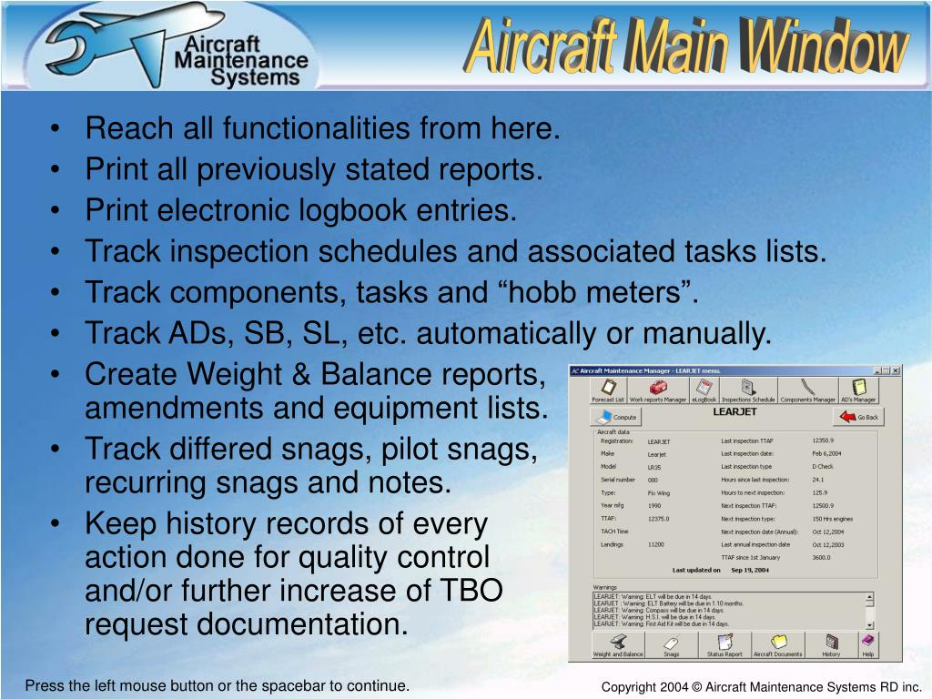 PPT - Aircraft Maintenance Systems PowerPoint Presentation