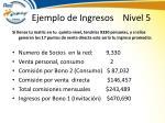 ejemplo de ingresos nivel 5