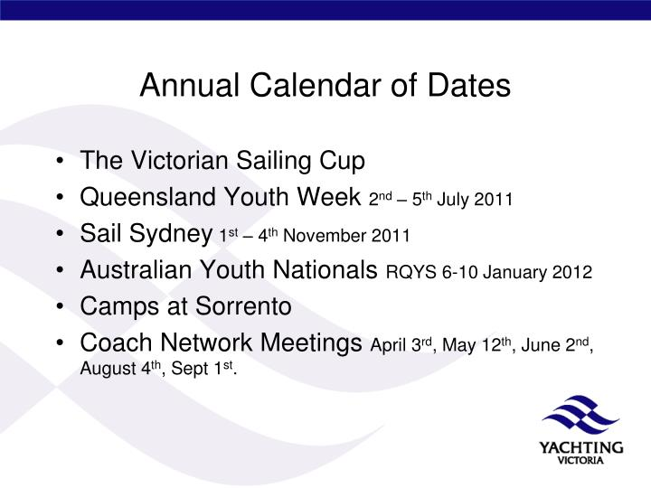 Annual Calendar of Dates