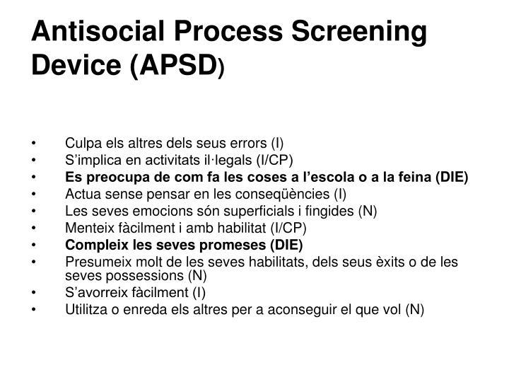 Antisocial Process Screening Device (APSD