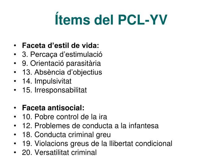 Ítems del PCL-YV