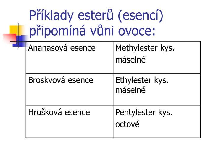 Příklady esterů (esencí)