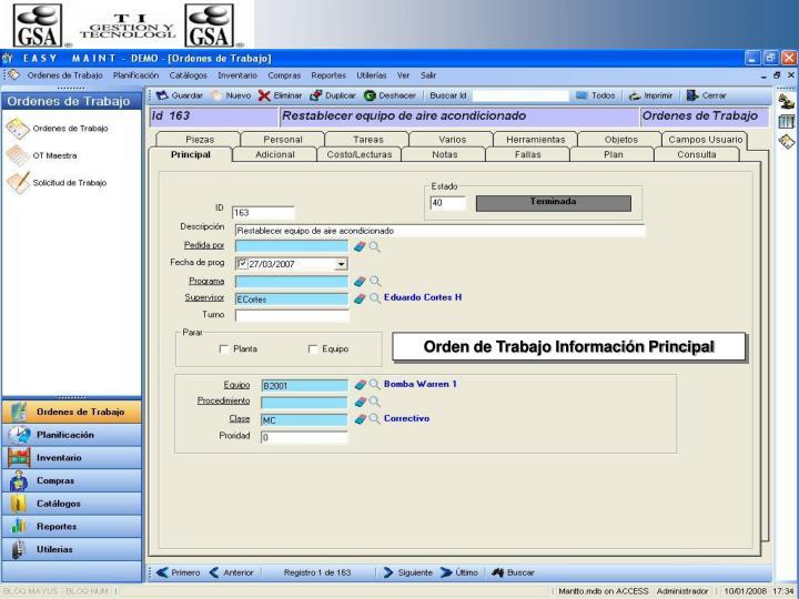 Orden de Trabajo Información Principal