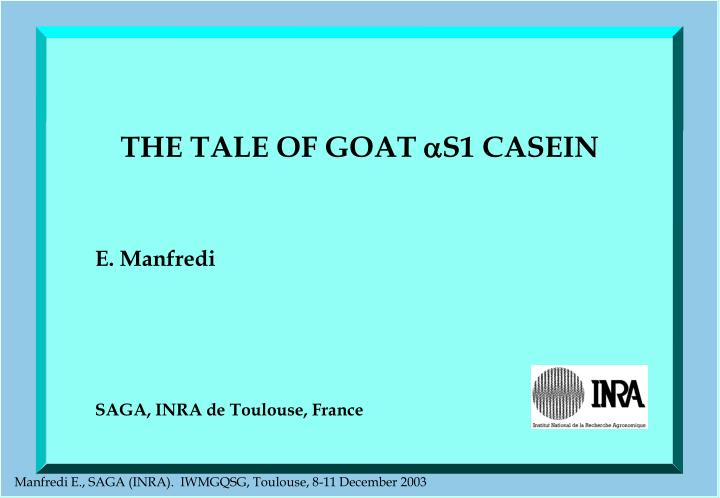 the tale of goat s1 casein n.