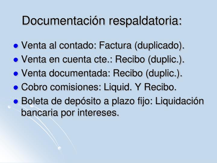 Documentación respaldatoria: