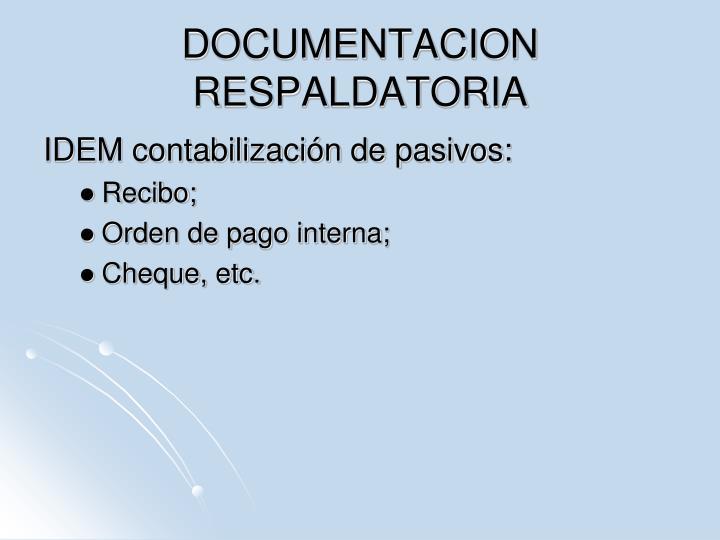DOCUMENTACION RESPALDATORIA