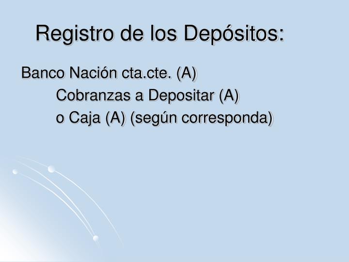 Registro de los Depósitos: