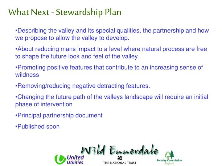 What Next - Stewardship Plan