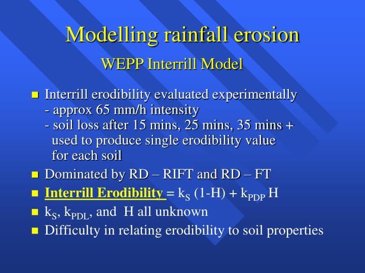 Modelling rainfall erosion