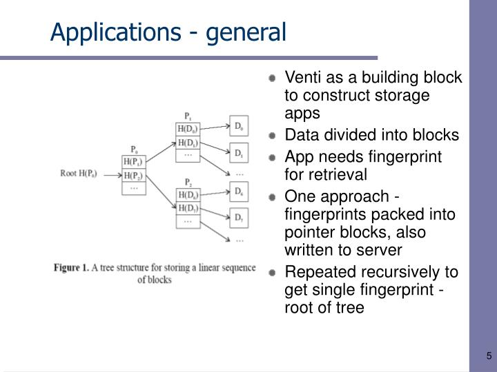 Venti as a building block to construct storage apps