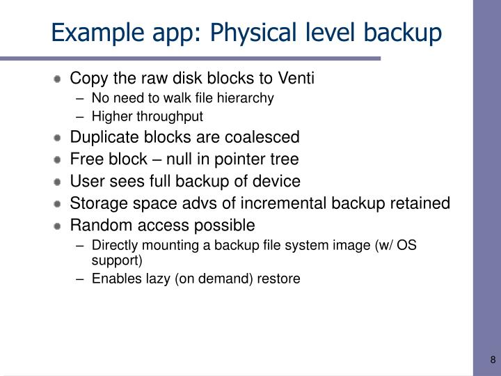 Example app: Physical level backup