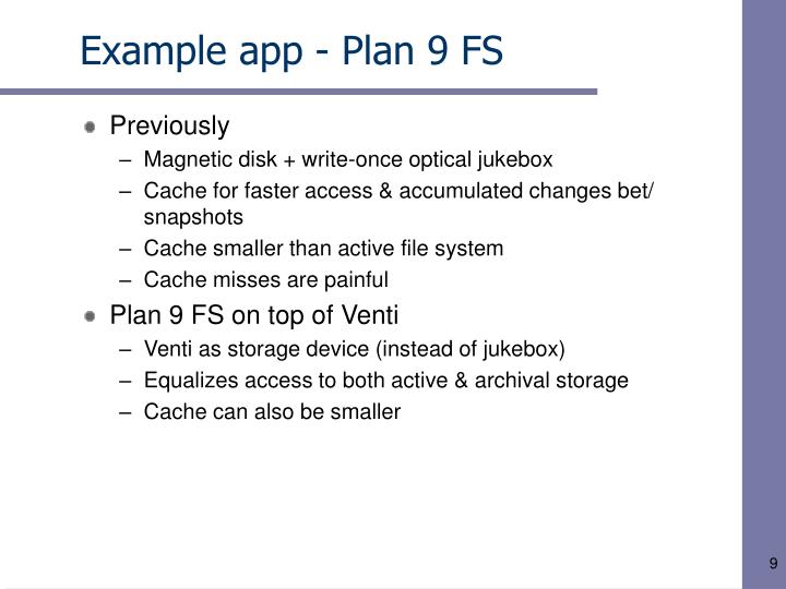 Example app - Plan 9 FS