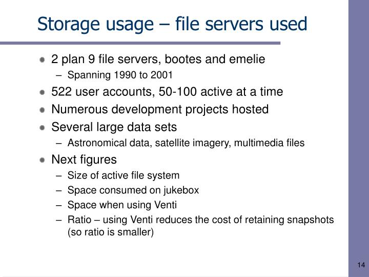 Storage usage – file servers used