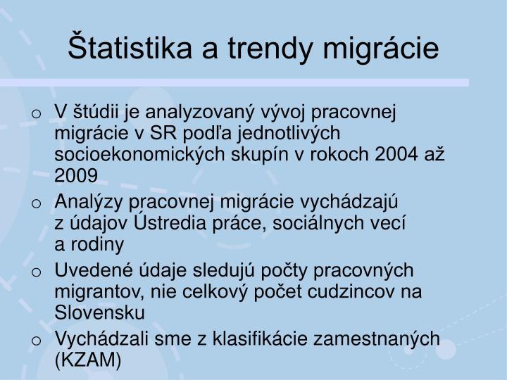 Štatistika a trendy migrácie