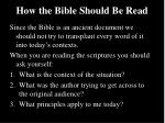 how the bible should be read1