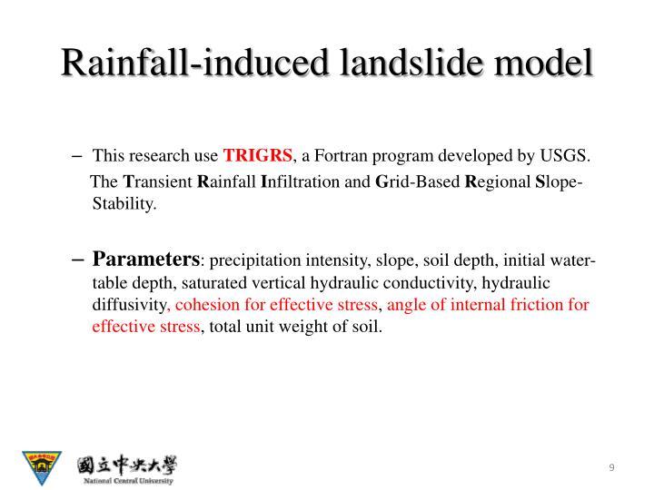 Rainfall-induced landslide model